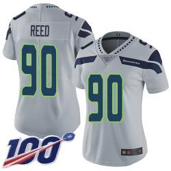 Limited Women's Jarran Reed Grey Alternate Jersey - #90 Football Seattle Seahawks 100th Season Vapor Untouchable