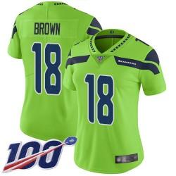 Limited Women's Jaron Brown Green Jersey - #18 Football Seattle Seahawks 100th Season Rush Vapor Untouchable