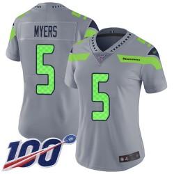 Limited Women's Jason Myers Silver Jersey - #5 Football Seattle Seahawks 100th Season Inverted Legend