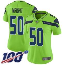Limited Women's K.J. Wright Green Jersey - #50 Football Seattle Seahawks 100th Season Rush Vapor Untouchable