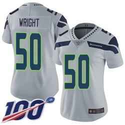 Limited Women's K.J. Wright Grey Alternate Jersey - #50 Football Seattle Seahawks 100th Season Vapor Untouchable