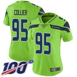 Limited Women's L.J. Collier Green Jersey - #95 Football Seattle Seahawks 100th Season Rush Vapor Untouchable