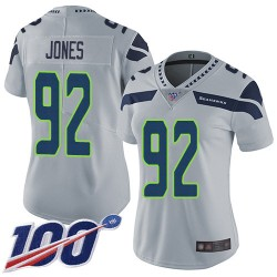Limited Women's Nazair Jones Grey Alternate Jersey - #92 Football Seattle Seahawks 100th Season Vapor Untouchable