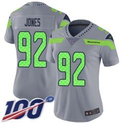 Limited Women's Nazair Jones Silver Jersey - #92 Football Seattle Seahawks 100th Season Inverted Legend