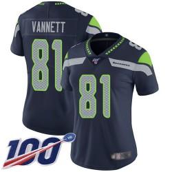 Limited Women's Nick Vannett Navy Blue Home Jersey - #81 Football Seattle Seahawks 100th Season Vapor Untouchable