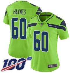 Limited Women's Phil Haynes Green Jersey - #60 Football Seattle Seahawks 100th Season Rush Vapor Untouchable