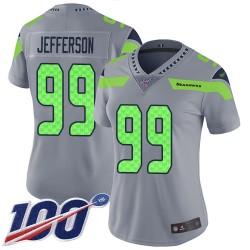 Limited Women's Quinton Jefferson Silver Jersey - #99 Football Seattle Seahawks 100th Season Inverted Legend