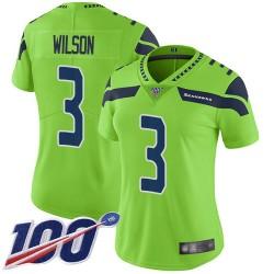 Limited Women's Russell Wilson Green Jersey - #3 Football Seattle Seahawks 100th Season Rush Vapor Untouchable
