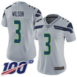 Limited Women's Russell Wilson Grey Alternate Jersey - #3 Football Seattle Seahawks 100th Season Vapor Untouchable