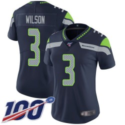 Limited Women's Russell Wilson Navy Blue Home Jersey - #3 Football Seattle Seahawks 100th Season Vapor Untouchable