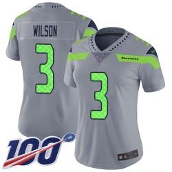 Limited Women's Russell Wilson Silver Jersey - #3 Football Seattle Seahawks 100th Season Inverted Legend