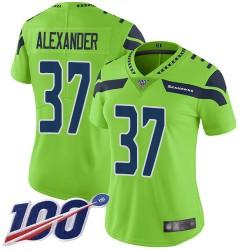 Limited Women's Shaun Alexander Green Jersey - #37 Football Seattle Seahawks 100th Season Rush Vapor Untouchable