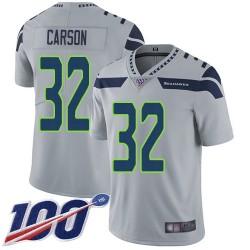Limited Men's Chris Carson Grey Alternate Jersey - #32 Football Seattle Seahawks 100th Season Vapor Untouchable
