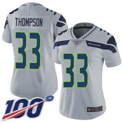 Limited Women's Tedric Thompson Grey Alternate Jersey - #33 Football Seattle Seahawks 100th Season Vapor Untouchable