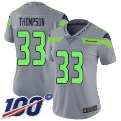 Limited Women's Tedric Thompson Silver Jersey - #33 Football Seattle Seahawks 100th Season Inverted Legend