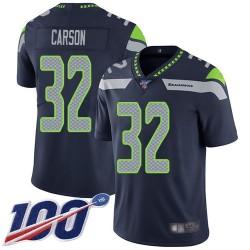 Limited Men's Chris Carson Navy Blue Home Jersey - #32 Football Seattle Seahawks 100th Season Vapor Untouchable