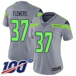 Limited Women's Tre Flowers Silver Jersey - #37 Football Seattle Seahawks 100th Season Inverted Legend