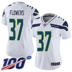 Limited Women's Tre Flowers White Road Jersey - #37 Football Seattle Seahawks 100th Season Vapor Untouchable