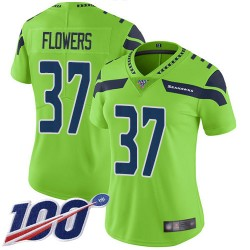 Limited Women's Tre Flowers Green Jersey - #37 Football Seattle Seahawks 100th Season Rush Vapor Untouchable