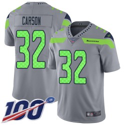 Limited Men's Chris Carson Silver Jersey - #32 Football Seattle Seahawks 100th Season Inverted Legend
