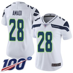 Limited Women's Ugo Amadi White Road Jersey - #28 Football Seattle Seahawks 100th Season Vapor Untouchable