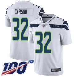 Limited Men's Chris Carson White Road Jersey - #32 Football Seattle Seahawks 100th Season Vapor Untouchable