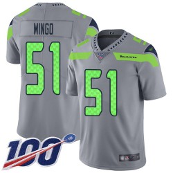 Limited Youth Barkevious Mingo Silver Jersey - #51 Football Seattle Seahawks 100th Season Inverted Legend