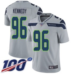 Limited Youth Cortez Kennedy Grey Alternate Jersey - #96 Football Seattle Seahawks 100th Season Vapor Untouchable