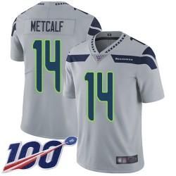 Limited Youth D.K. Metcalf Grey Alternate Jersey - #14 Football Seattle Seahawks 100th Season Vapor Untouchable