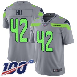 Limited Youth Delano Hill Silver Jersey - #42 Football Seattle Seahawks 100th Season Inverted Legend
