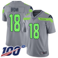 Limited Youth Jaron Brown Silver Jersey - #18 Football Seattle Seahawks 100th Season Inverted Legend