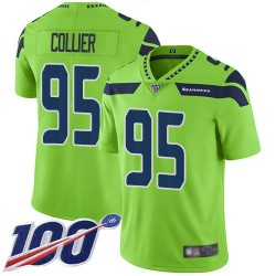 Limited Youth L.J. Collier Green Jersey - #95 Football Seattle Seahawks 100th Season Rush Vapor Untouchable