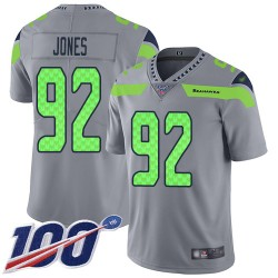 Limited Youth Nazair Jones Silver Jersey - #92 Football Seattle Seahawks 100th Season Inverted Legend
