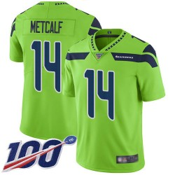 Limited Men's D.K. Metcalf Green Jersey - #14 Football Seattle Seahawks 100th Season Rush Vapor Untouchable