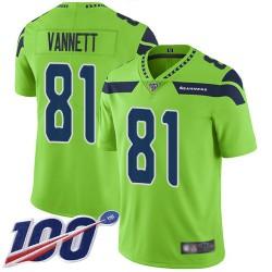 Limited Youth Nick Vannett Green Jersey - #81 Football Seattle Seahawks 100th Season Rush Vapor Untouchable