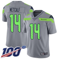 Limited Men's D.K. Metcalf Silver Jersey - #14 Football Seattle Seahawks 100th Season Inverted Legend
