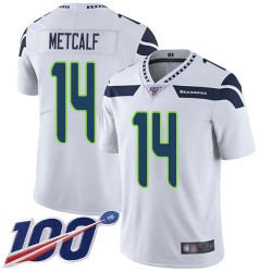 Limited Men's D.K. Metcalf White Road Jersey - #14 Football Seattle Seahawks 100th Season Vapor Untouchable