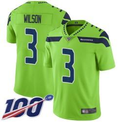 Limited Youth Russell Wilson Green Jersey - #3 Football Seattle Seahawks 100th Season Rush Vapor Untouchable
