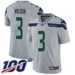 Limited Youth Russell Wilson Grey Alternate Jersey - #3 Football Seattle Seahawks 100th Season Vapor Untouchable