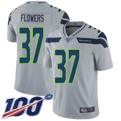 Limited Youth Tre Flowers Grey Alternate Jersey - #37 Football Seattle Seahawks 100th Season Vapor Untouchable