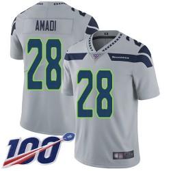 Limited Youth Ugo Amadi Grey Alternate Jersey - #28 Football Seattle Seahawks 100th Season Vapor Untouchable
