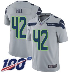 Limited Men's Delano Hill Grey Alternate Jersey - #42 Football Seattle Seahawks 100th Season Vapor Untouchable