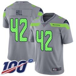 Limited Men's Delano Hill Silver Jersey - #42 Football Seattle Seahawks 100th Season Inverted Legend