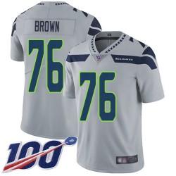 Limited Men's Duane Brown Grey Alternate Jersey - #76 Football Seattle Seahawks 100th Season Vapor Untouchable